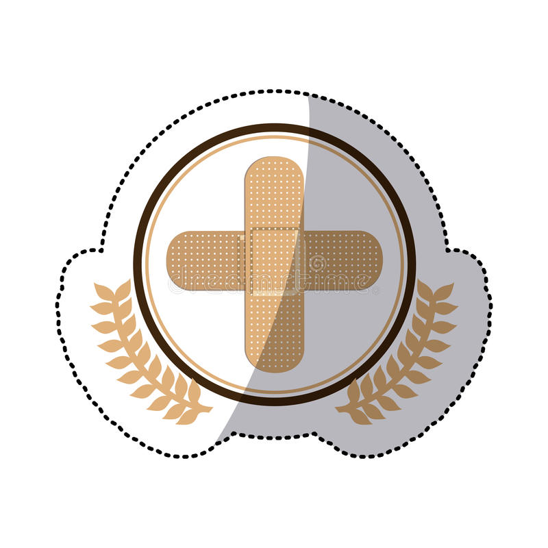 Barwi majcheru z okręgiem z oliwnymi branchs i zespół pomocy w krzyż formie royalty ilustracja