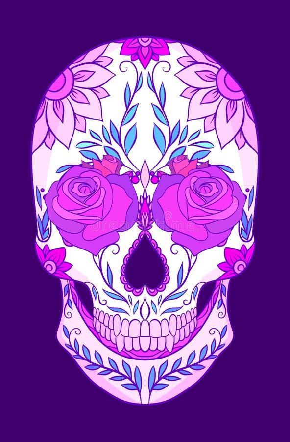 Barwi neonową ilustrację cukrowa czaszka z różami Wakacje dzień nieboszczyk royalty ilustracja