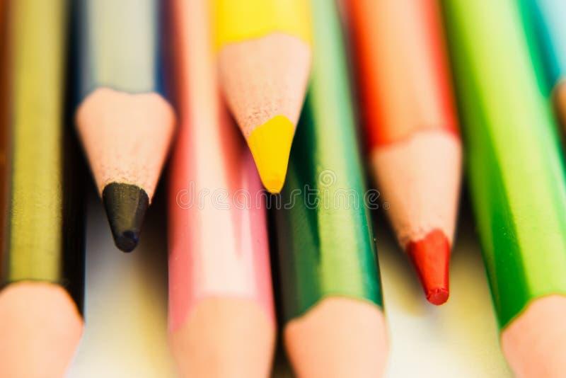 Barwi ołówki odizolowywających na białym tle, makro- widok obraz royalty free