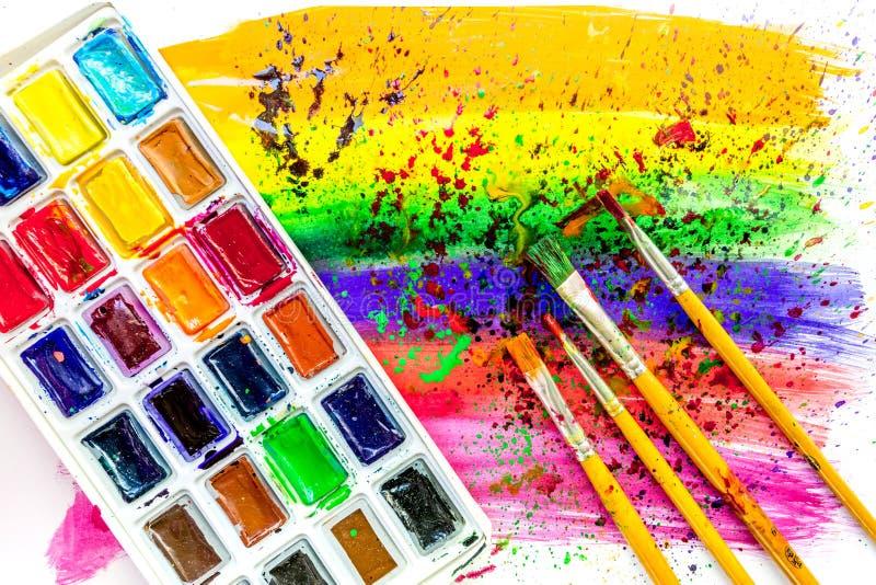 Barwi obraz olejny teksturę z muśnięciami i pallete dla jaskrawego tła zdjęcia stock