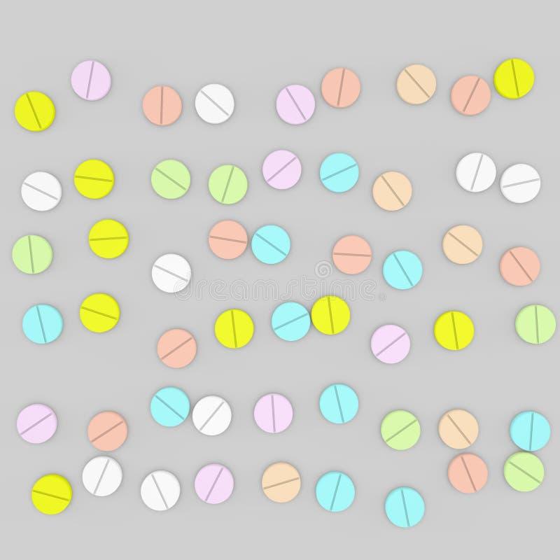 Barwi pigułki Odizolowywający na popielatym tle 3D renderingu illustrat royalty ilustracja