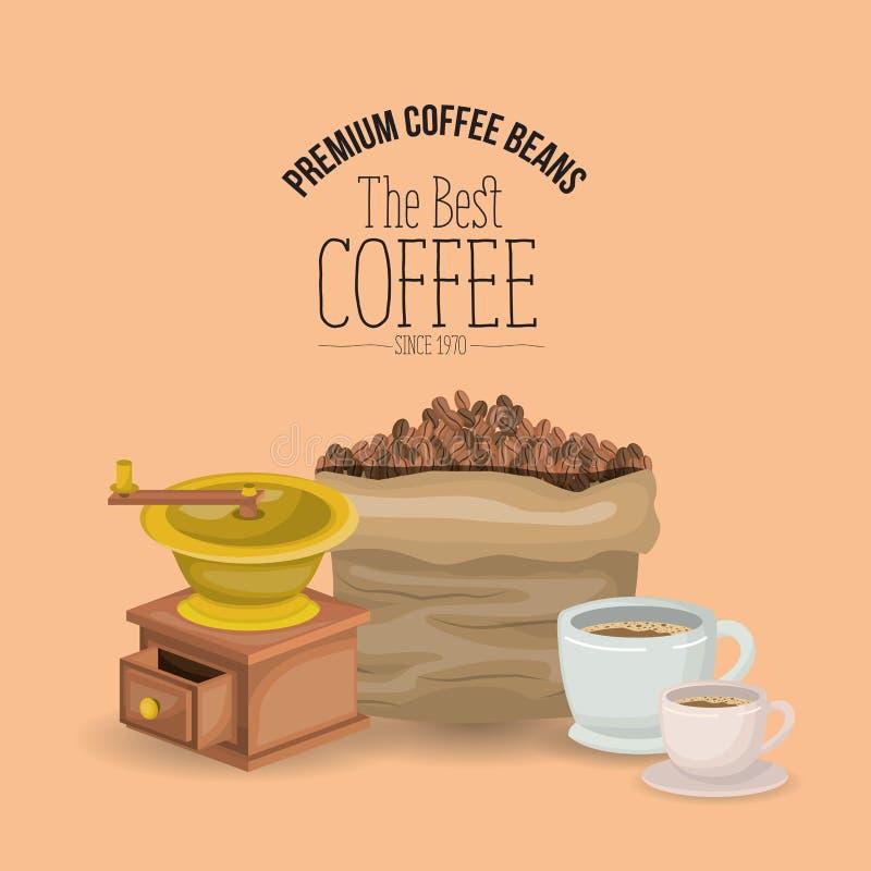 Barwi plakat premii kawowe fasole najlepszy kawa od 1970 z ustalonymi torby porcelany filiżankami i śrutowaniem z korbą ilustracja wektor