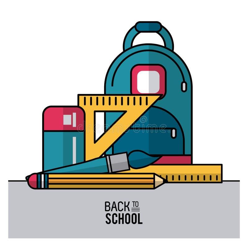 Barwi plakat z powrotem szkoła z plecakiem i istotni elementy szkoła w zbliżeniu ilustracja wektor