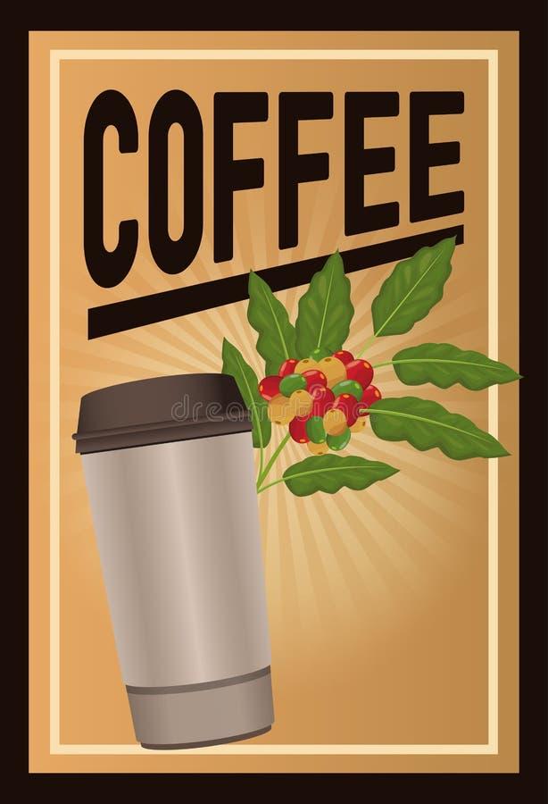 Barwi plakatową kawę z liniową łuną i szklany rozporządzalnego dla gorących napojów ilustracja wektor