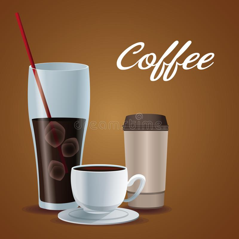 Barwi plakatową szklaną filiżankę lukrowa kawa z porcelany filiżanką i rozporządzalny dla napojów royalty ilustracja