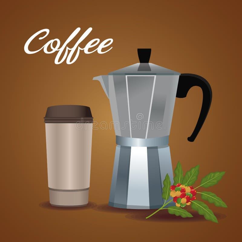 Barwi plakatowego kruszcowego słój kawa z rękojeścią i rozporządzalny dla gorących napojów ilustracji