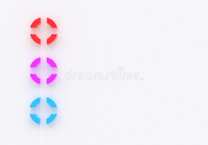 Barwi pocisk rzeczy infographics szablonu trzy opcje, rzeczy lub pozycje, lista, umieszczająca na białym tle 3d ilustracji