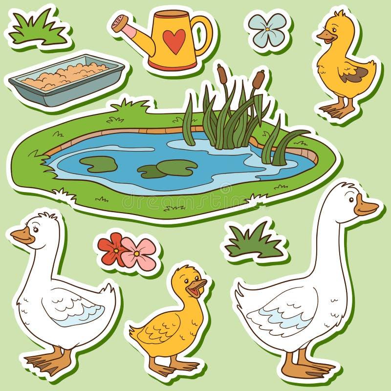 Barwi set śliczni zwierzęta gospodarskie i przedmioty, wektorowa rodzinna gąska royalty ilustracja