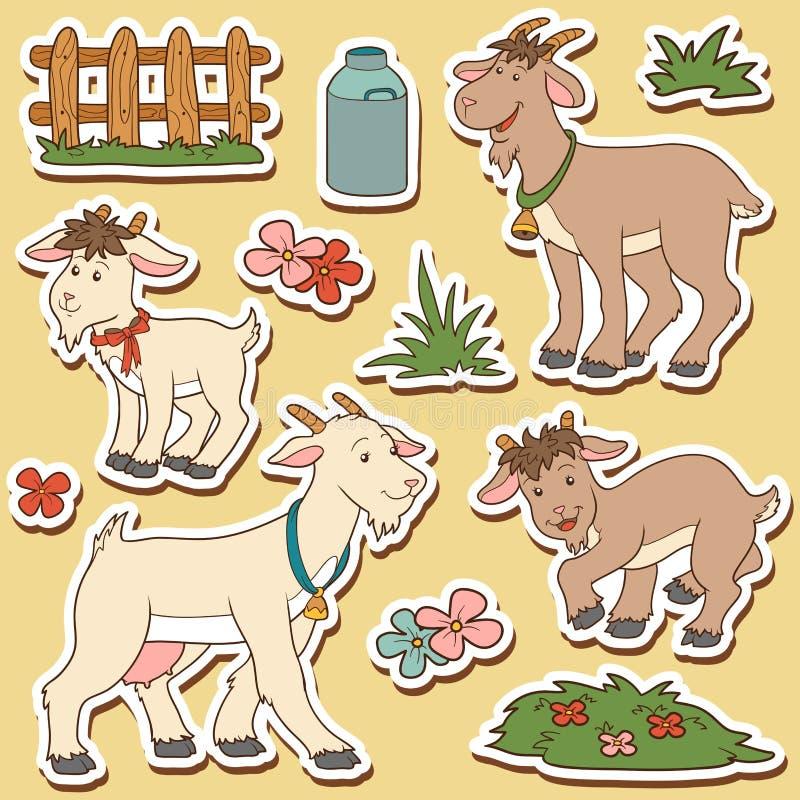Barwi set śliczni zwierzęta gospodarskie i przedmioty, wektorowa rodzinna kózka ilustracja wektor