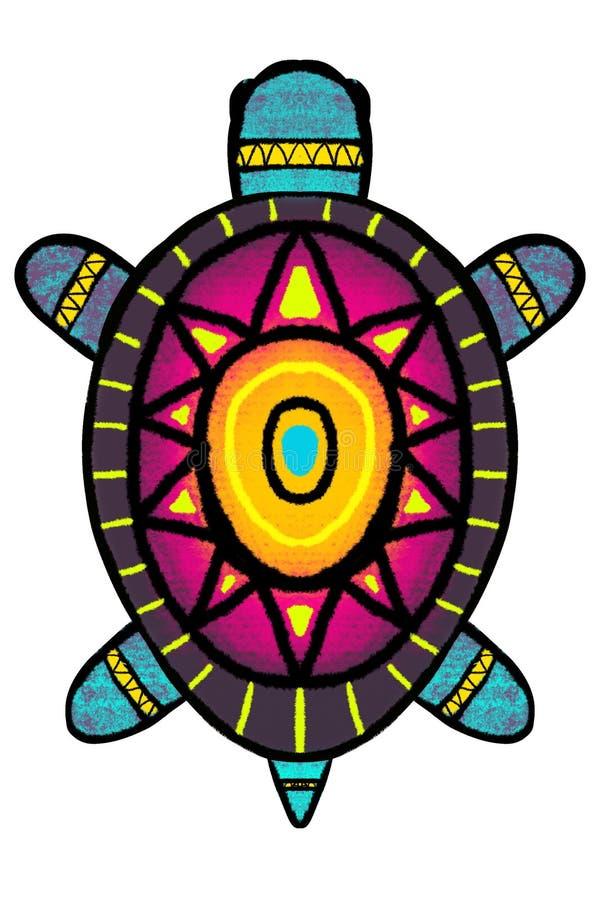 Barwi, stylizował, żółwia z ornamentem - ilustracja royalty ilustracja
