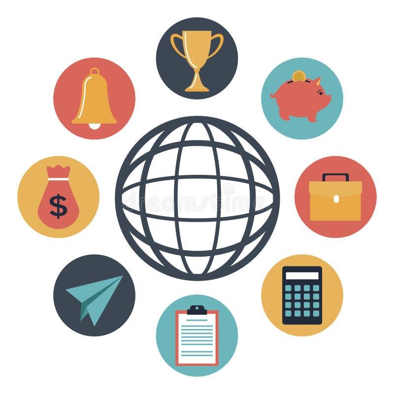 Barwi sylwetek ikon elementu inwestycję wokoło globalny ziemski świat ilustracja wektor