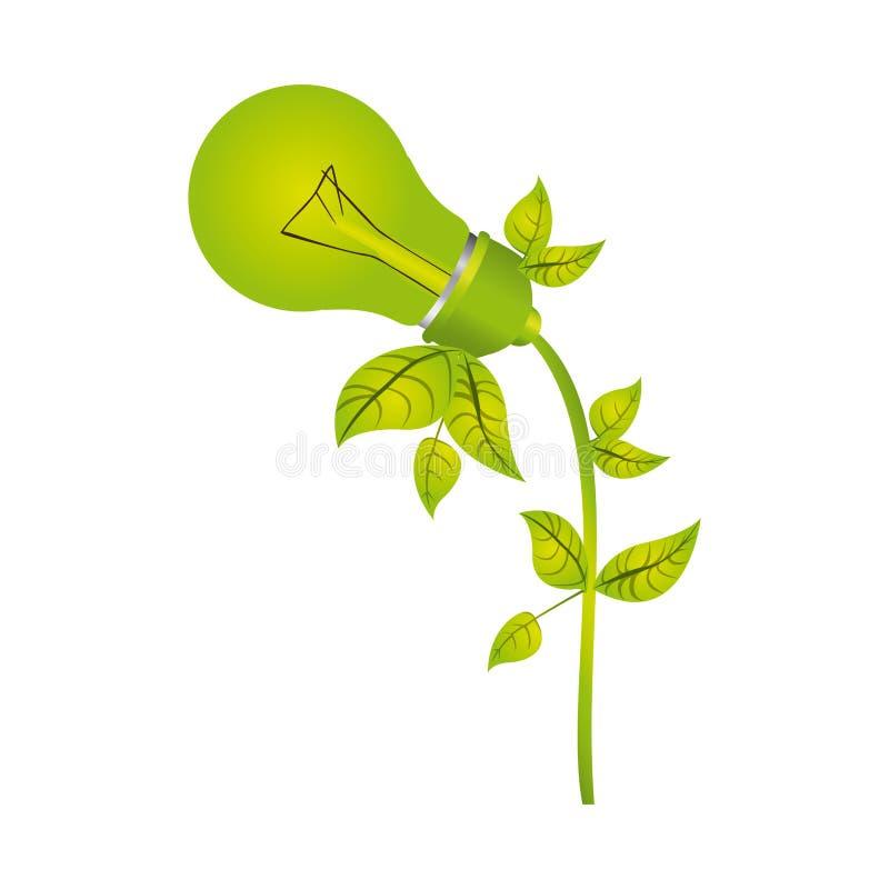 barwi sylwetkę z żarówką z liśćmi i pochylającą lewa strona ilustracja wektor
