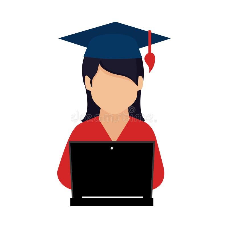 Barwi sylwetkę z kobietą z skalowanie laptopem i kapeluszem royalty ilustracja