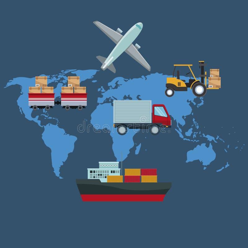 Barwi sylwetki światowej mapy tło z ikon logistyk przewiezionymi pojazdami ilustracji