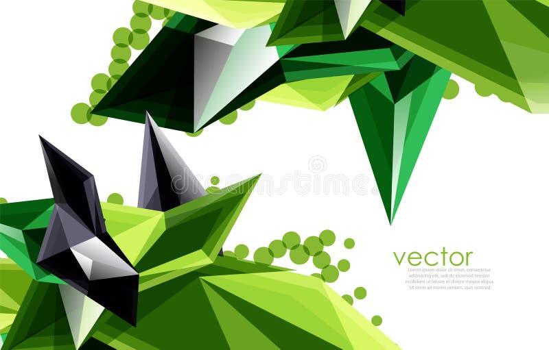 Barwi szklanych kryształy na białym tle, geometrycznym abstrakcjonistycznym składzie z szklanymi gemstones i copyspace, tło ilustracji