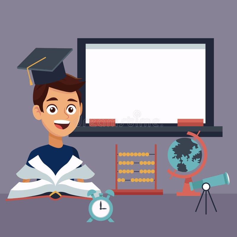 Barwi tło z kredowej deski, chłopiec uczniem z skalowaniem z element szkołą i ilustracja wektor