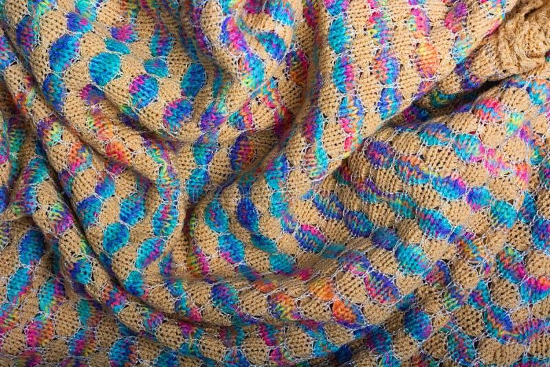Barwi teksturę trykotowa zmięta tkanina, odgórny widok zdjęcie royalty free