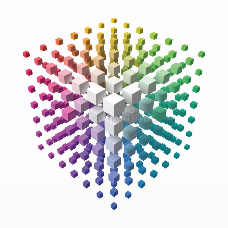 Barwi teoria sześcian z małymi sześcianami na kątach 3d stylu wektoru ilustracja royalty ilustracja