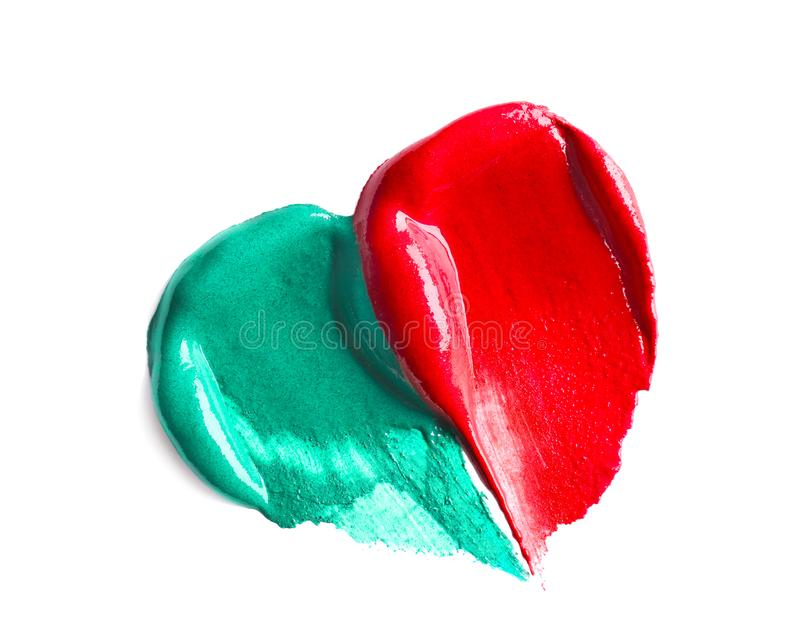 Barwi wazeliniarskich farb brushstrokes, odizolowywających na bielu fotografia royalty free