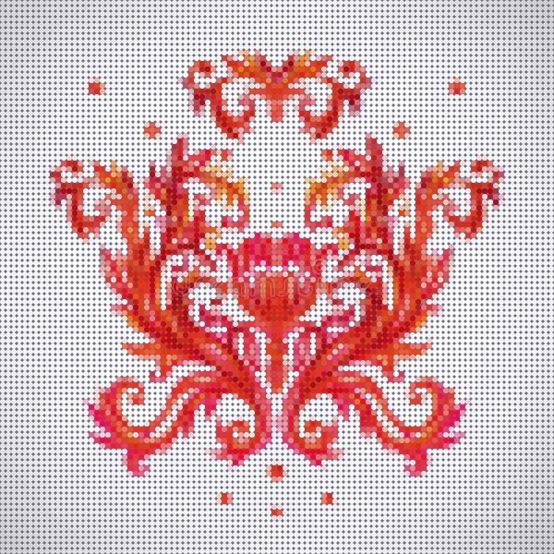 Barwi wektorowego bezszwowego wzór z kwiatami z tradycyjnym embr ilustracja wektor