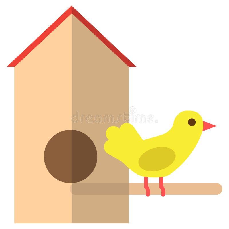 Barwiona drewniana birdhouse i wróbla ptasia ikona, wektorowa ilustracja ilustracja wektor