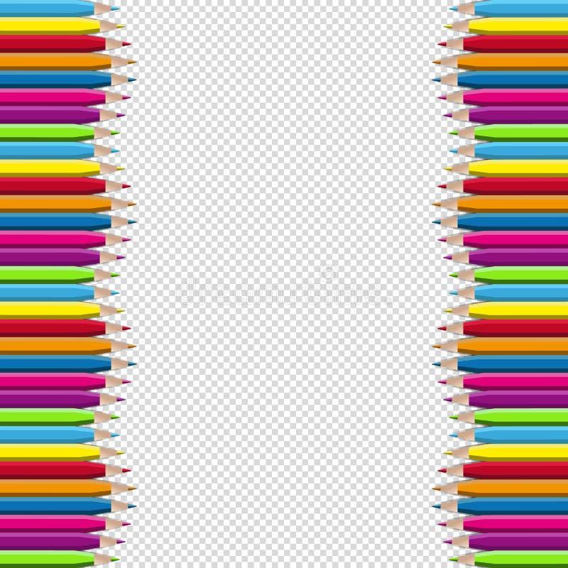 Barwiona Drewniana ołówek granicy rama Odizolowywająca Na Przejrzystym tle - Wektorowa ilustracja - royalty ilustracja