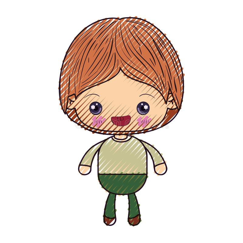 Barwiona kredkowa sylwetka kawaii chłopiec ono uśmiecha się ilustracji