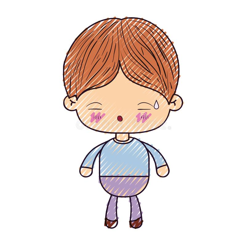 Barwiona kredkowa sylwetka kawaii chłopiec z wyrazem twarzy zmęczony royalty ilustracja