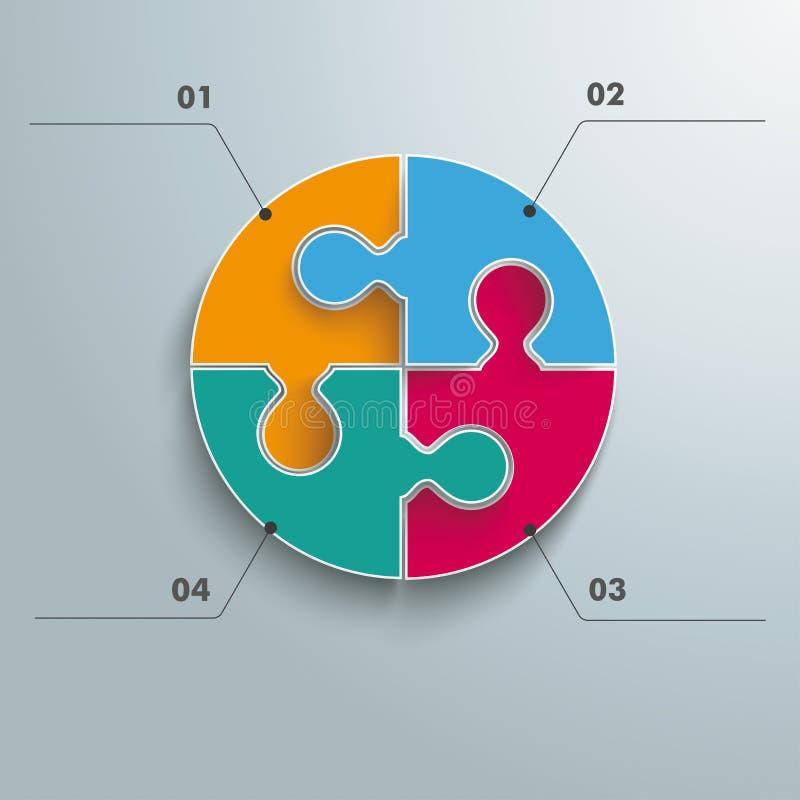 Barwiona okrąg łamigłówka Infographic ilustracja wektor