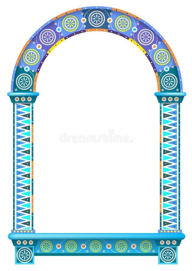 Barwiona ornamentacyjna łękowata drzwiowa nadokienna rama ilustracji