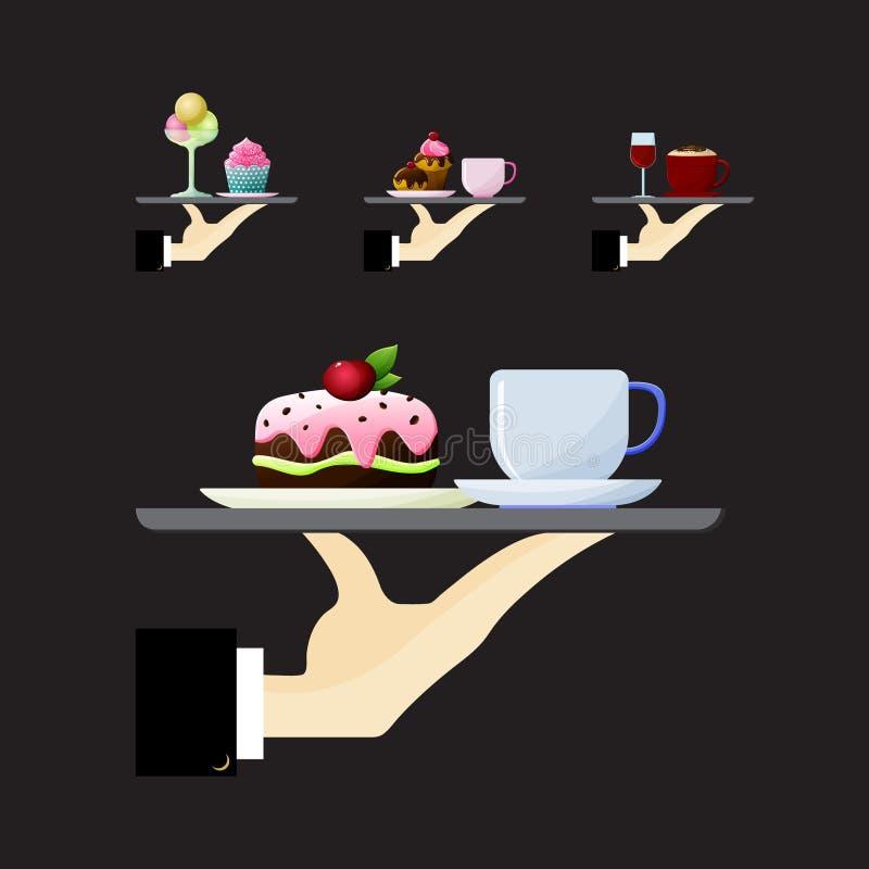 Barwiona płaska ikona, wektorowy projekt Kelnera ` s ręki mienia taca z jedzeniem i napojami ilustracja wektor