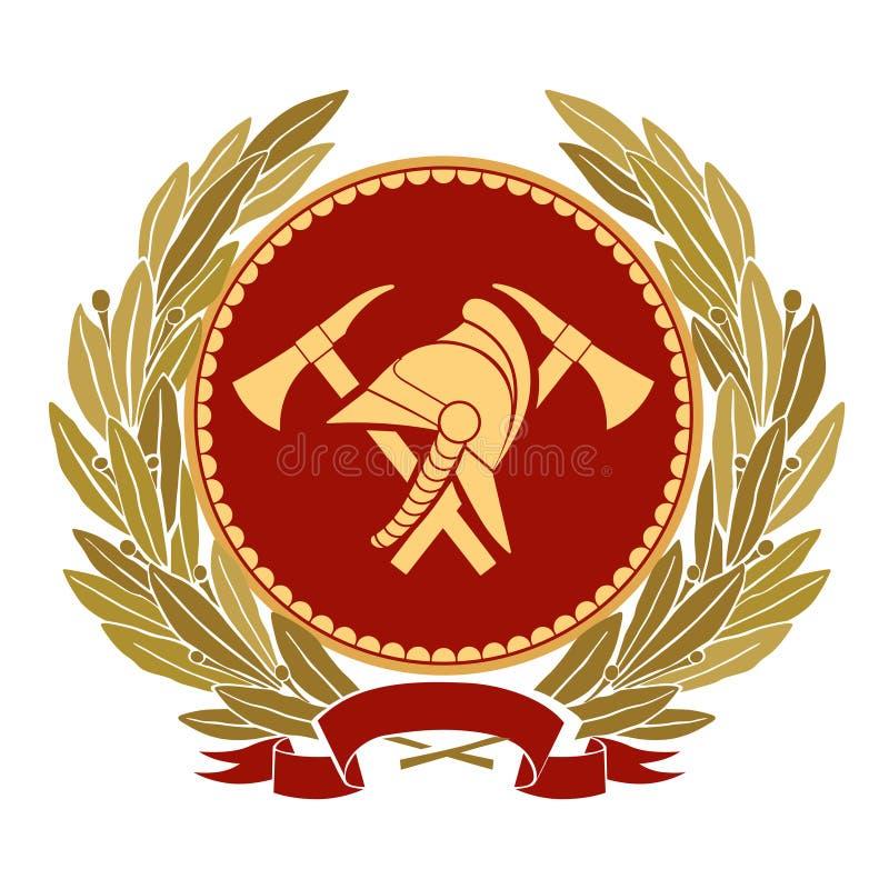 Barwiona Pożarnicza heraldyka Pożarniczy hełm, gałązki oliwne, cioski, faborek ilustracja wektor