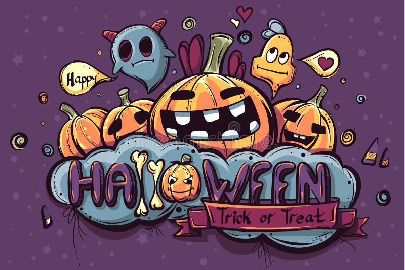 Barwiona ręka rysujący Halloween doodles ilustracja wektor