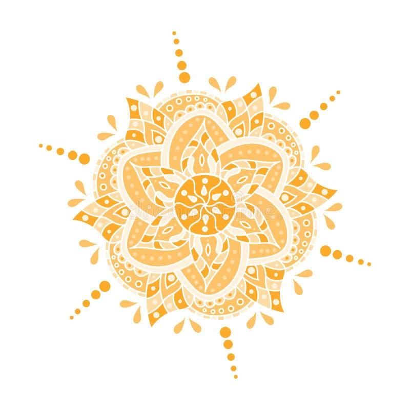 Barwiona ręka rysujący mandala również zwrócić corel ilustracji wektora royalty ilustracja