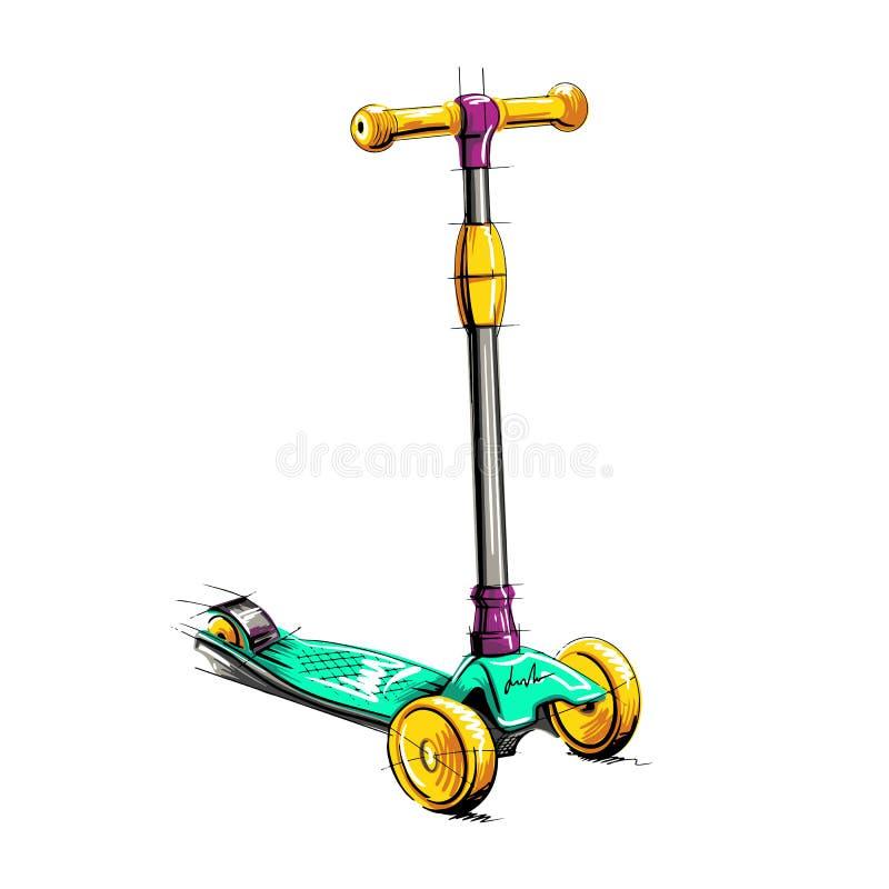 Barwiona rolkowa hulajnoga dla dzieci Balansuje rower Eco- transport ilustracja wektor