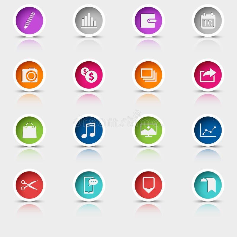 Barwiona ustalona round sieć zapina ikona element ilustracji