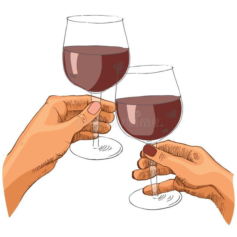 Barwiona wektorowa ilustracja dwa kobiety wręcza trzymać szkła wino ilustracja wektor