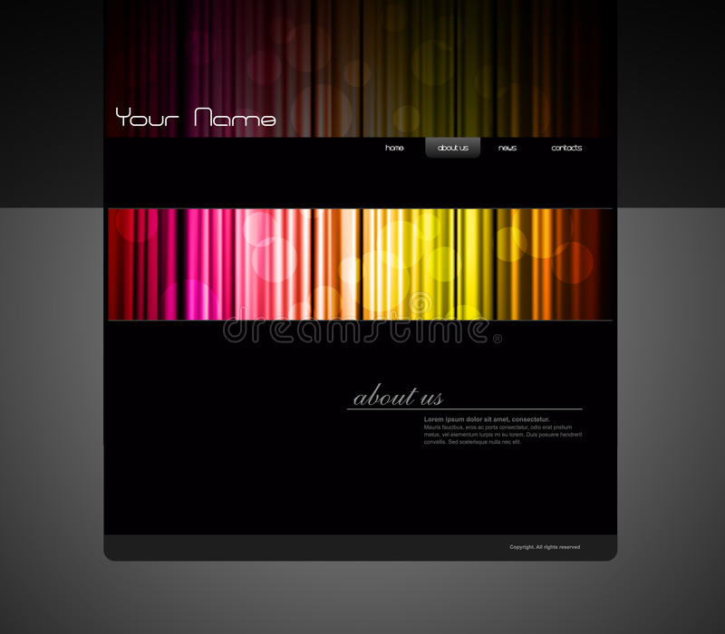 barwiona zasłony szablonu strona internetowa royalty ilustracja