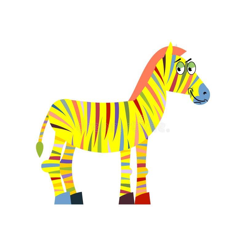 barwiona zebra kolorowa zebra Kolorowi lampasy na ciele anima royalty ilustracja