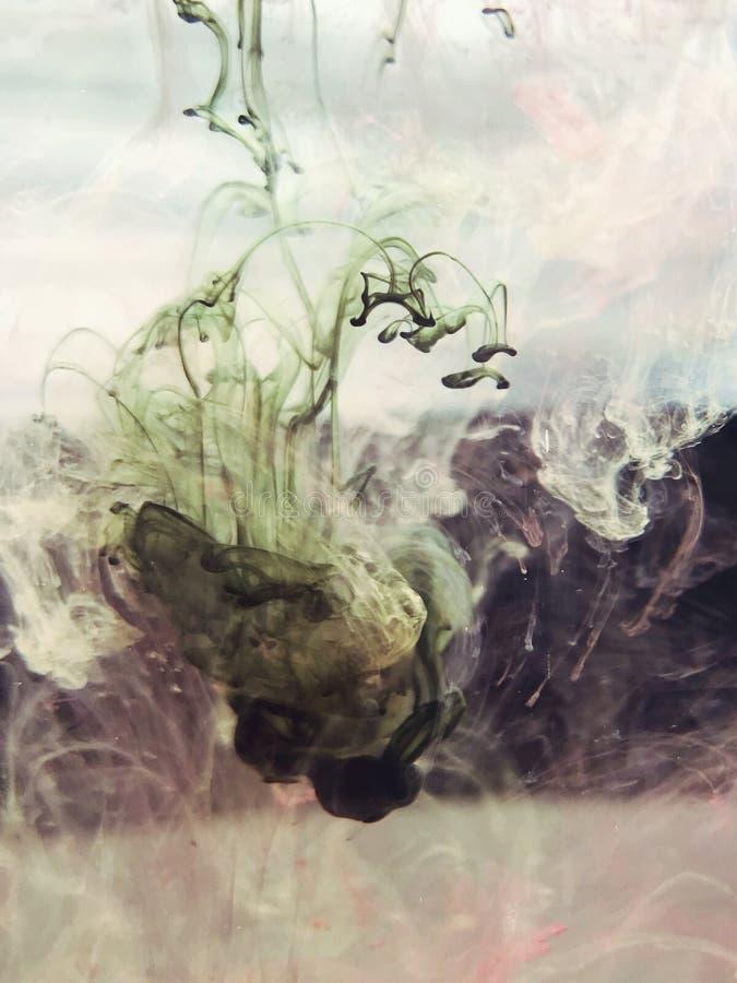 Barwione atrament krople w wodzie zdjęcia stock