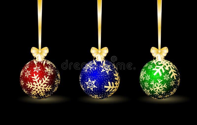 barwione Boże Narodzenie sfery trzy ilustracji