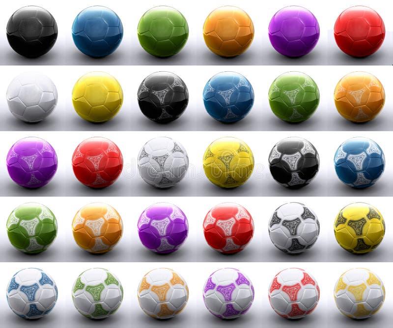 Barwione futbolowe piłki ilustracji