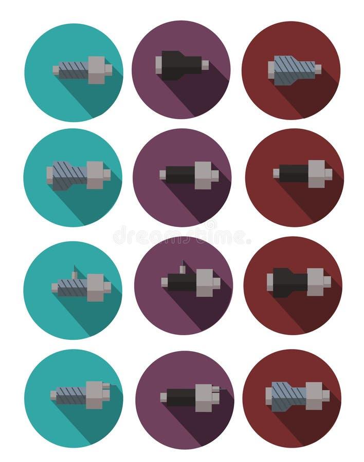 Barwione ikony drymby w polyurethane piany izolaci dla stron internetowych, plakatów sztandary ilustracja wektor