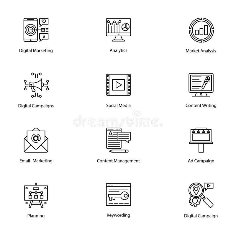 Barwione ikony Internetowy i Cyfrowy marketing ilustracja wektor