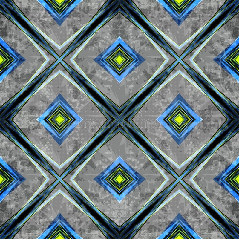 Barwione linie i wieloboki na szarym tle Bezszwowa geometryczna tło ilustracja Grunge skutek ilustracja wektor