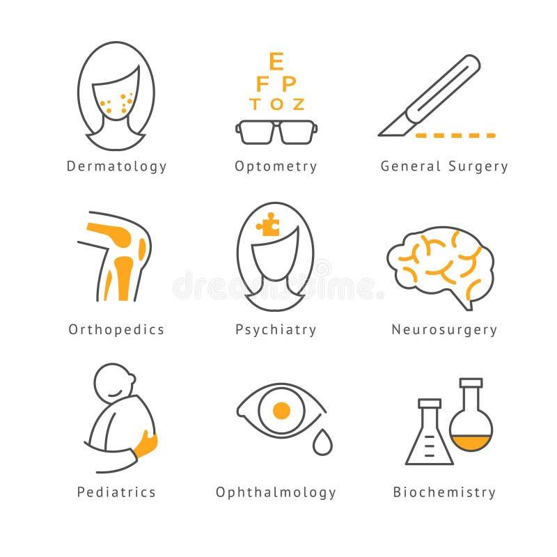 Barwione Medyczne opiek zdrowotnych ikony ilustracji