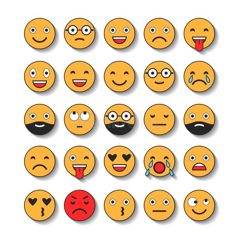 Barwione płaskie ikony emoticons Ono uśmiecha się z brodą, różne emocje, nastroje ilustracja wektor