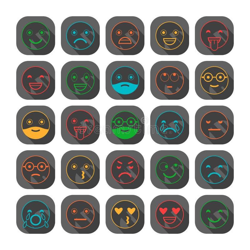 Barwione płaskie ikony emoticons Ono uśmiecha się z brodą, różne emocje, nastroje royalty ilustracja