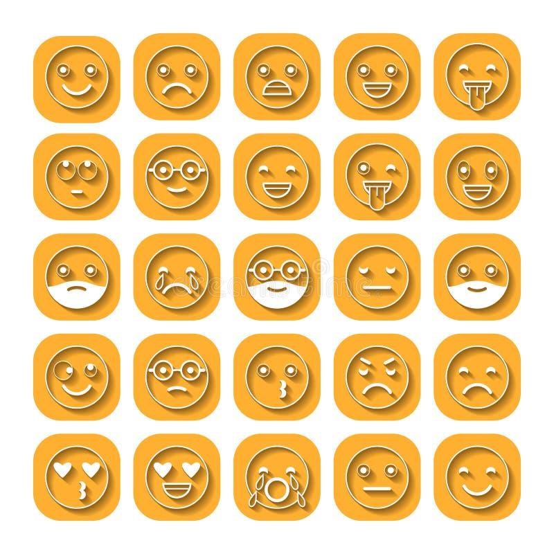 Barwione płaskie ikony emoticons Ono uśmiecha się z brodą, różne emocje, nastroje ilustracji