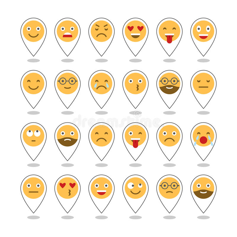 Barwione płaskie ikony emoticons Ono uśmiecha się z brodą, różne emocje, nastroje wektor ilustracja wektor